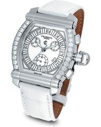 "Charriol - Diamond ""colvmbvs Chronographe Tonneau"" Watch With White Crocodile Strap - Lyst"