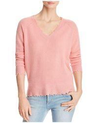 Minnie Rose | Distressed Cashmere V-neck Sweater | Lyst