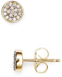 Adina Reyter - 14k Yellow Gold Pavé Diamond Disc Stud Earrings - Lyst