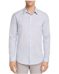 Theory - Stitch Print Regular Fit Button-down Shirt - Lyst