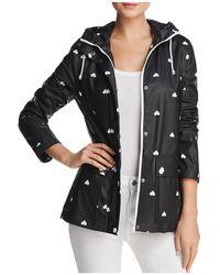 Aqua - Heart Print Hooded Raincoat - Lyst