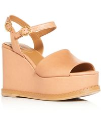 fad5b81487a7 Lyst - Tory Burch Women s Satin Scalloped Platform Wedge Slide Sandals