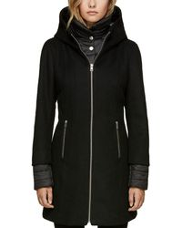 SOIA & KYO - Rooney Hooded Mixed Media Coat - Lyst