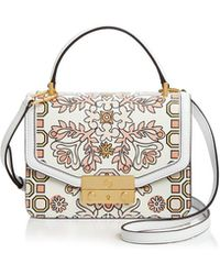 Tory Burch - Juliette Printed Mini Leather Satchel - Lyst