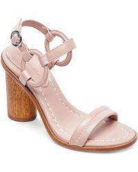 Bernardo - Women's Leather Circle Strap Block Heel Sandals - Lyst