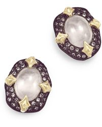Armenta - 18k Yellow Gold & Blackened Sterling Silver Old World Aquaprase & Champagne Diamond Bezel Stud Earrings - Lyst