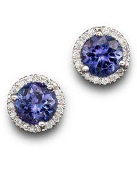 Bloomingdale's - Tanzanite And Diamond Halo Stud Earrings In 14k White Gold - Lyst