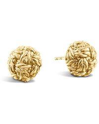 John Hardy - Classic Chain 18k Yellow Gold Stud Earrings - Lyst