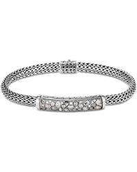 John Hardy - Sterling Silver Classic Chain Extra-small Bracelet With White Diamond & Gray Diamond Pavé - Lyst