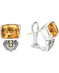 Lagos - 18k Gold And Sterling Silver Caviar Color Citrine Huggie Drop Earrings - Lyst