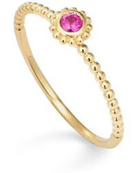 Lagos - 18k Gold And Round Ruby Stackable Ring - Lyst