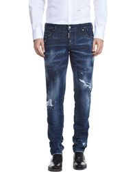 DSquared² - Dark Slash Slim Fit Jeans In Blue - Lyst