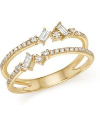 KC Designs | 14k Yellow Gold Mosaic Diamond Double Bar Ring | Lyst