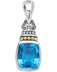 Lagos - 18k Gold And Sterling Silver Caviar Color Pendant With Swiss Blue Topaz - Lyst