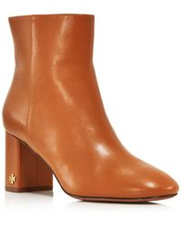 73d4d6d4687 Tory Burch - Women s Brooke Round Toe Leather Booties - Lyst