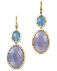 Marco Bicego - Siviglia Resort Drop Earrings With Aquamarine And Chalcedony Stones In 18k Yellow Gold - Lyst