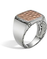 John Hardy - Men's Sterling Silver And Bronze Palu Signet Ring - Lyst