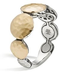 John Hardy - Women's 18k Gold And Sterling Silver Palu Round Disc Ring - Lyst