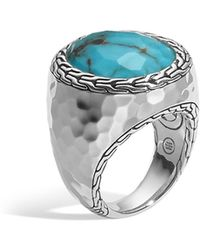 John Hardy - Sterling Silver Palu Large Oval Ring With Turquoise - Lyst