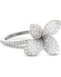 Pasquale Bruni - 18k White Gold Secret Garden Four Petal Pavé Diamond Flower Ring - Lyst
