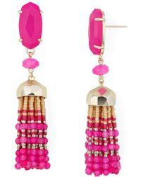 Kendra Scott - Dove Gold Statement Earrings In Pink Agate - Lyst