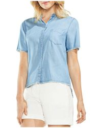 Vince Camuto - Frayed Chambray Top - Lyst