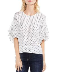 Vince Camuto - Tiered Ruffle Sleeve Poetic Dot Blouse - Lyst