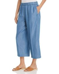 MICHAEL Michael Kors - Chambray Wide-leg Cropped Trousers - Lyst