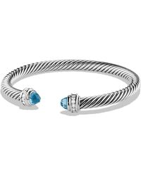 David Yurman - Cable Classics Bracelet With Blue Topaz And Diamonds - Lyst