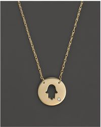 "Jane Basch - 14k Yellow Gold Cut Out Hamsa Disc Pendant Necklace, 16"" - Lyst"