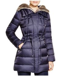 Laundry by Shelli Segal - Drawstring Quilted Coat With Faux-fur Trim - Lyst