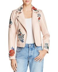 Guess - Embroidered Faux Leather Moto Jacket - Lyst