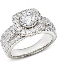 Bloomingdale's - Diamond Halo Engagement Ring In 14k White Gold - Lyst