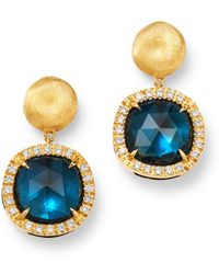 Marco Bicego - 18k Yellow Gold Jaipur Color London Blue Topaz & Diamond Small Drop Earrings - Lyst