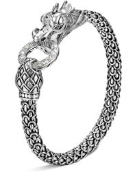 John Hardy - Naga Silver Dragon Bracelet With Diamond Pavé, .45 Ct. T.w. - Lyst