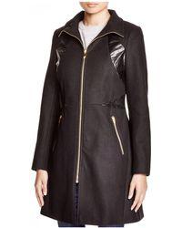 Via Spiga - Faux Leather-trim Zip Coat - Lyst