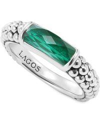 Lagos - Sterling Silver Maya Malachite Stack Ring - Lyst