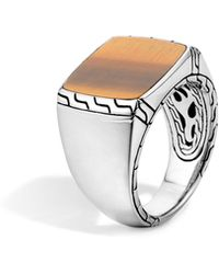 John Hardy - Batu Classic Chain Sterling Silver Signet Ring With Tiger's Eye - Lyst