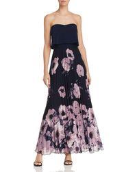 Aqua - Pleated Floral-print Strapless Maxi Dress - Lyst