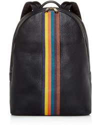 Paul Smith - Embroidered Stripe Leather Backpack - Lyst
