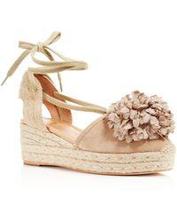 Kate Spade - Lafayette Pom-pom Lace Up Platform Wedge Sandals - Lyst