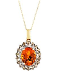 "Bloomingdale's - Citrine Oval With White And Brown Diamond Halo Pendant Necklace In 14k Yellow Gold, 18"" - Lyst"