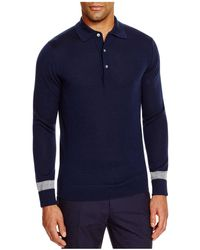 Hardy Amies - Long Sleeve Slim Fit Polo With Tipping - Lyst