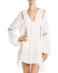 Boho Me - Crocheted Trim Mini Dress Swim Cover-up - Lyst