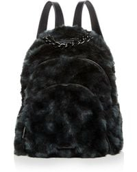 Kendall + Kylie - Kendall And Kylie Sloane Checkered Faux-fur Backpack - Lyst