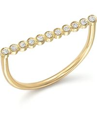 Zoe Chicco - 14k Yellow Gold Bar Ring With Bezel-set Diamonds - Lyst
