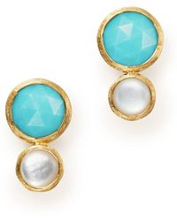 Marco Bicego - 18k Yellow Gold Jaipiur Turquoise And Mother-of-pearl Climber Stud Earrings - Lyst