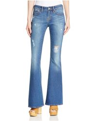 Jean Shop - Stevie Destructed Flare Jeans In Medium Wash Mended - Lyst