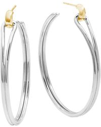 Shinola - 14k Yellow Gold & Sterling Silver Large Lug Hoop Earrings - Lyst