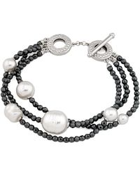 Majorica - Simulated Pearl Multi-strand Toggle Bracelet - Lyst